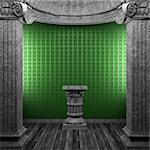 stone columns, pedestal and wallpaper made in 3D Stock Photo - Royalty-Free, Artist: icetray                       , Code: 400-04780279