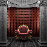 stone columns, chair and wallpaper made in 3D Stock Photo - Royalty-Free, Artist: icetray                       , Code: 400-04781027