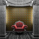 stone columns, chair and wallpaper made in 3D Stock Photo - Royalty-Free, Artist: icetray                       , Code: 400-04781029