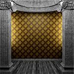 stone columns and wallpaper made in 3D Stock Photo - Royalty-Free, Artist: icetray                       , Code: 400-04781043