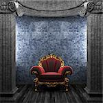 stone columns, chair and wallpaper made in 3D Stock Photo - Royalty-Free, Artist: icetray                       , Code: 400-04781057