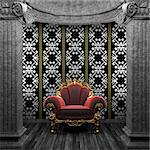 stone columns, chair and wallpaper made in 3D Stock Photo - Royalty-Free, Artist: icetray                       , Code: 400-04781065