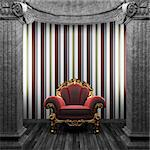 stone columns, chair and wallpaper made in 3D Stock Photo - Royalty-Free, Artist: icetray                       , Code: 400-04781067
