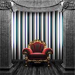 stone columns, chair and wallpaper made in 3D Stock Photo - Royalty-Free, Artist: icetray                       , Code: 400-04781069