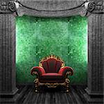 stone columns, chair and wallpaper made in 3D Stock Photo - Royalty-Free, Artist: icetray                       , Code: 400-04781079