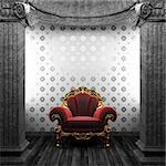stone columns, chair and wallpaper made in 3D Stock Photo - Royalty-Free, Artist: icetray                       , Code: 400-04781081