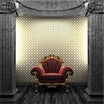 stone columns, chair and wallpaper made in 3D Stock Photo - Royalty-Free, Artist: icetray                       , Code: 400-04781095