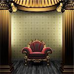 bronze columns, chair and tile wall made in 3D Stock Photo - Royalty-Free, Artist: icetray                       , Code: 400-04782109