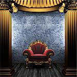 bronze columns, chair and tile wall made in 3D Stock Photo - Royalty-Free, Artist: icetray                       , Code: 400-04782115