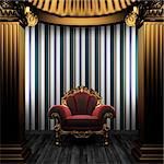 bronze columns, chair and tile wall made in 3D Stock Photo - Royalty-Free, Artist: icetray                       , Code: 400-04782121