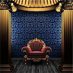bronze columns, chair and tile wall made in 3D Stock Photo - Royalty-Free, Artist: icetray                       , Code: 400-04782123