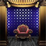 bronze columns, chair and tile wall made in 3D Stock Photo - Royalty-Free, Artist: icetray                       , Code: 400-04782129