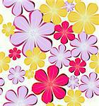 Seamless background with colorful flowers. Vector illustration