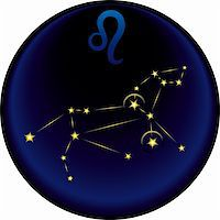 Leo constellation plus the Leo astrological sign Stock Photo - Royalty-Freenull, Code: 400-04782411