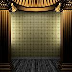 bronze columns and tile wall made in 3D Stock Photo - Royalty-Free, Artist: icetray                       , Code: 400-04782429