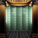 bronze columns and tile wall made in 3D Stock Photo - Royalty-Free, Artist: icetray                       , Code: 400-04782431