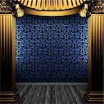 bronze columns and tile wall made in 3D Stock Photo - Royalty-Free, Artist: icetray                       , Code: 400-04782443