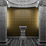 stone columns, pedestal and tile wall made in 3D Stock Photo - Royalty-Free, Artist: icetray                       , Code: 400-04782959
