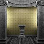 stone columns, pedestal and tile wall made in 3D Stock Photo - Royalty-Free, Artist: icetray                       , Code: 400-04782965