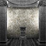 stone columns, pedestal and tile wall made in 3D Stock Photo - Royalty-Free, Artist: icetray                       , Code: 400-04782979