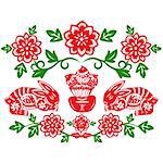 Chinese style of paper cut for year of the rabbit. Stock Photo - Royalty-Free, Artist: mylefthand                    , Code: 400-04784496