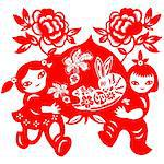 Chinese style of paper cut for year of the rabbit. Stock Photo - Royalty-Free, Artist: mylefthand                    , Code: 400-04784500