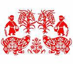 Chinese style of paper cut for year of the rabbit. Stock Photo - Royalty-Free, Artist: mylefthand                    , Code: 400-04785509
