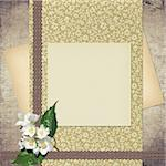 Card for congratulation or invitation with retro paper and flower