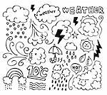 Set of grunge weather hand drawing icons Stock Photo - Royalty-Free, Artist: notkoo2008                    , Code: 400-04786383