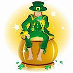 Saint Patrick and pot gold. Illustration in vector format EPS Stock Photo - Royalty-Free, Artist: orensila                      , Code: 400-04787037