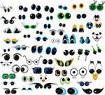 Set of cartoon vector eyes over white background Stock Photo - Royalty-Free, Artist: ntnt                          , Code: 400-04790516