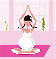 Relaxing pregnant woman in white dress meditating / practicing yoga in room. Vector Illustration. Stock Photo - Royalty-Freenull, Code: 400-04790761