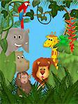 Illustration of cute animals among jungle plants Stock Photo - Royalty-Free, Artist: futura                        , Code: 400-04790889