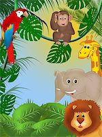 Illustration of cute animals among jungle plants Stock Photo - Royalty-Freenull, Code: 400-04790929