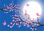 vector illustration of cherry blossom with birds and moon at the background