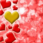 Happy Valentines Day Heart of Gold Blurred Defocused Background Illustration