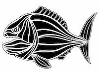 piranha fish - Abstract piranha in the form of a tattoo Stock Photo - Royalty-Freenull, Code: 400-04795128