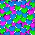 Hearts seamless pattern. Hearts on a white background. Vector illustration.