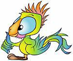 Multicolored Parrot - colored cartoon illustration, vector