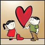 Vector illustration of girl and boy with big heart
