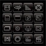 Line Digital Camera  Performance Icons - Vector Icon Set