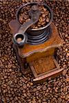 grinder to milling coffee on grains of coffee Stock Photo - Royalty-Free, Artist: dabjola                       , Code: 400-04802416