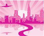 vector illustration of pink city with road, plane and reflection