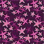 Seamless pattern with sea stars on a dark background