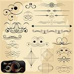 Calligraphic design elements, vector collection