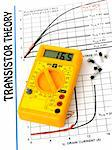 Yellow multimeter and study the transistor theory paper Stock Photo - Royalty-Free, Artist: madarakis                     , Code: 400-04807865
