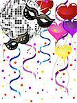 vector eps 10 illustration of mask and heart balloons on a silver mirror ball