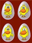 Birds, chickens with different emotions in eggs, set Stock Photo - Royalty-Free, Artist: alexokokok                    , Code: 400-04808993