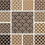 Seamless geometric patterns. Designs set with circle-shaped elements. Vector art in Adobe illustrator EPS format, compressed in a zip file. The different graphics are all on separate layers so they can easily be moved or edited individually. The document can be scaled to any size without loss of quality. Stock Photo - Royalty-Free, Artist: troyka                        , Code: 400-04812405