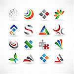 A set of 16 abstract design elements in various colors Stock Photo - Royalty-Free, Artist: ThomasAmby                    , Code: 400-04812912